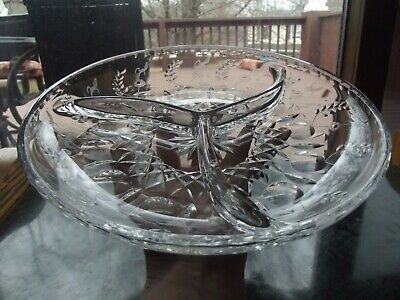 3 Part Relish Serving dish party buffet tray GLASS CRYSTAL MILLER ROGASKA GALLIA
