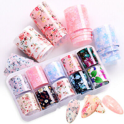 10 Rolls Nail Art Foils Stickers Flower Pattern Transfer Decals Decoration Tips