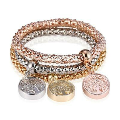 3Pcs Women Gold Silver Rose Gold Bracelets Set Rhinestone Bangle Fashion Jewelry