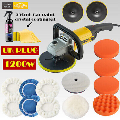 "7"" Car Polisher Buffer Sander Polishing Waxing Machine Bonnet Pads Polish Kit UK"