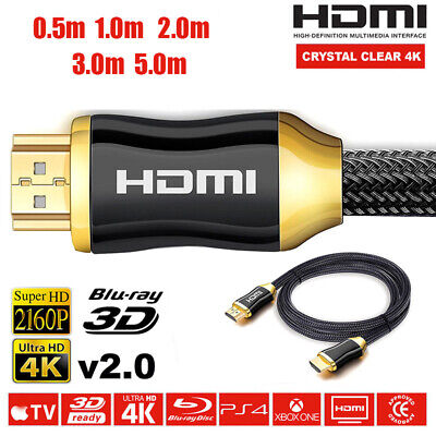 PREMIUM Braided Ultra HD HDMI Cable v2.0 High Speed + Ethernet HDTV 2160p 4K 3D