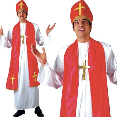 ADULT CONFESSIONAL PRIEST COSTUME Mens Funny Religious Fancy Dress Outfit 84421