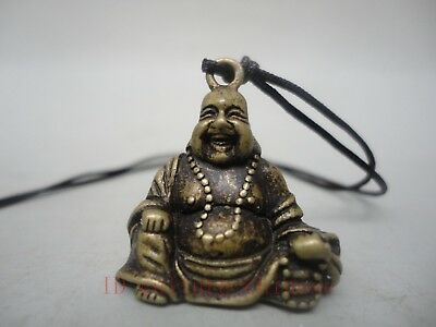 Collected Old China Tibet Bronze Carving Maitreya Buddha Statue Pendant Amulet