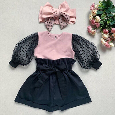 3PCS Kid Baby Girl Winter Clothes Tops Shorts Headband Pageant  Party Outfit Set