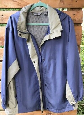 Vtg Eddie Bauer Wind Jacket Coat Women's XL Mesh Vents Back Snaps Zip Pkts Hood
