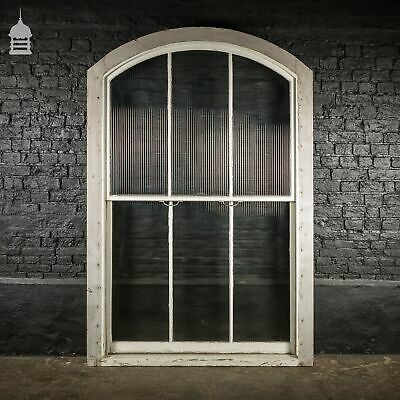 Large Edwardian Mahogany Arch Top Sliding Sash Window With Obscured Glass From S