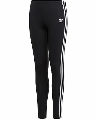 NEW $95 Adidas Originals Big Kids Girls Black White Stripe Tight Leggings Size S