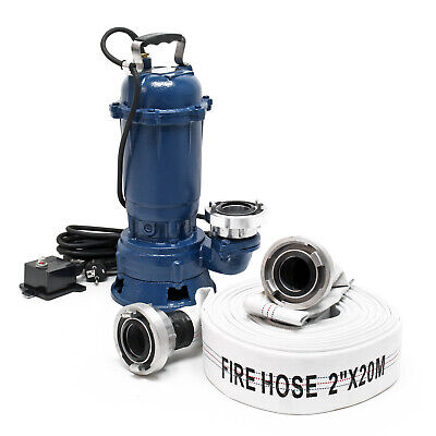 Waste Water Pump 550W 10,000l/h with 20m Hose Submersible Pump