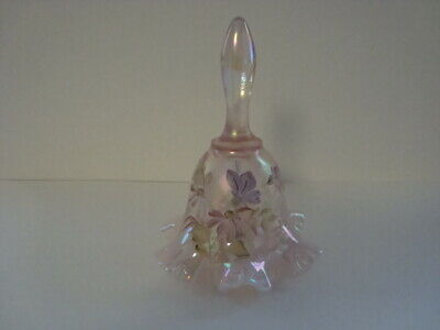 Fenton Iridescent Glass Bell with Hand-Painted Flowers signed M. Wagner