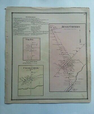 "Antique Victorian Map 1867 Busti Corners Oak Hill Clear Creek New York 15""x13.5"""