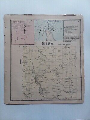 "Antique Victorian Map 1867 Mina Corners Findleys Lake New York 15""x13.5"" Atlas"