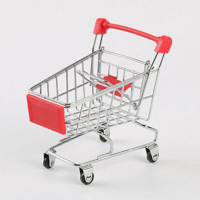 Supermarket Mini Metal Shopping Trolley Basket Kids Child Pretend Role Play UK