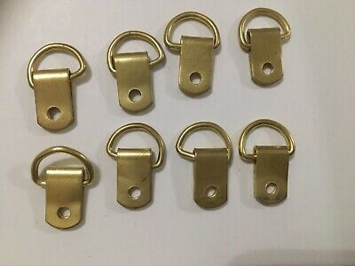 D rings for pictures / mirrors etc. X 8  brass coloured
