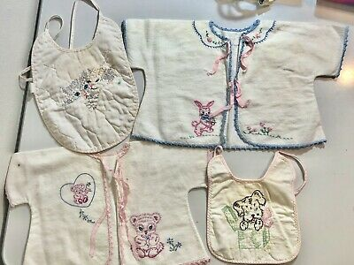 Vintage Embroidered Baby Bibs Flannel Jackets Handmade Crochet Trim - Lot of 4