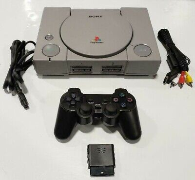 2 WIRELESS CONTROLLERS Sony PlayStation-1 SCPH-9001 Console System PS1 Bundle