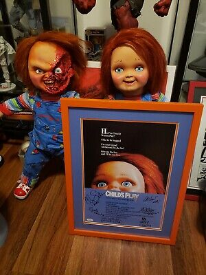 Child's Play Autographed  Chucky Good Guy Doll 17X22.5 Framed Poster w/ JSA LOA