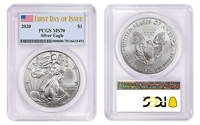 Presale 2020 $1 American Silver Eagle PCGS MS70 First Day of Issue Flag Label