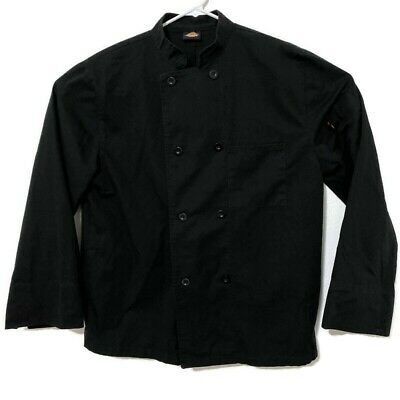 Dickies Mens Black Chef Coat Long Sleeve Button Up Cooking Uniform Top