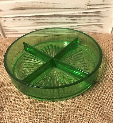 "Vintage Green Vaseline Depression Glass 8"" Candy/Serving Divided Dish 4 Sections"
