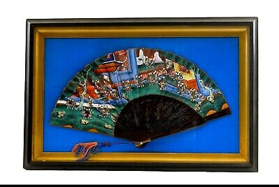 1930's Chinese Export Framed Bamboo Lacquer Fan Painting Painted Faces Figure