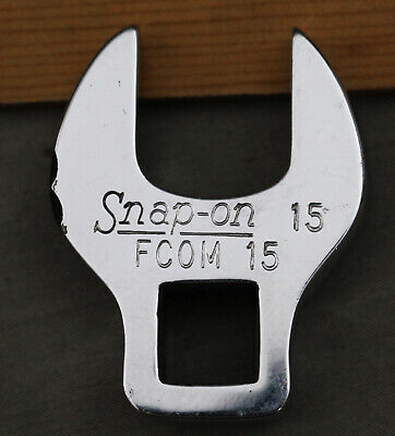 "Snap On FCOM 15 mm Metric 3/8"" Drive Crowfoot Wrench Open End Socket Crowsfoot"