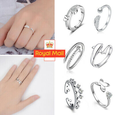 Womens 925 Sterling Silver Rings Adjustable Thumb Wedding Engagement Gift Y