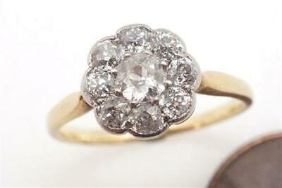 PRETTY ANTIQUE ENGLISH 18K GOLD & PLATINUM OLD CUT DIAMOND CLUSTER RING c1920