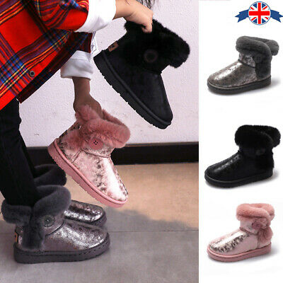 Kids Ankle Boots Boys Girl Winter Warm Boots Fur Lined Chelsea School Snow Shoes