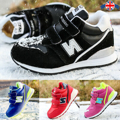 Kids Winter Snow Fur Lined Boots Boys Girls Trainers Outdoor Warm Shoes Fashion