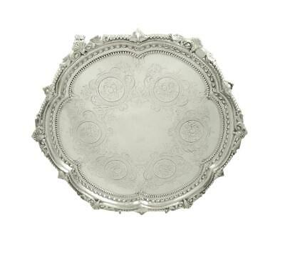 """Antique Victorian Sterling Silver 12""""  Tray/Salver - 1867"""