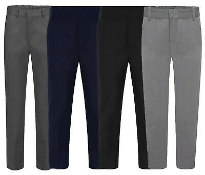Boys Skinny School Trousers Dark Grey, Grey Navy School Uniform Adjustable Waist