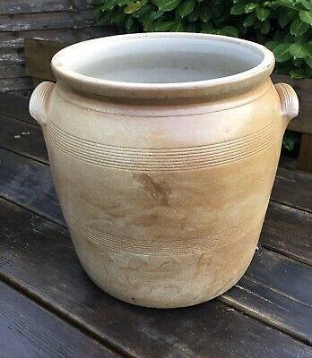 Old Vintage Large Stoneware French Crock Pot Used Garden Planter Holes To Base
