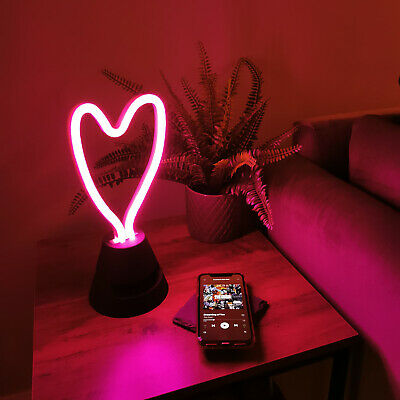 LED Neon Heart Light with Bluetooth Speaker, Wireless USB Rechargeable Lamp