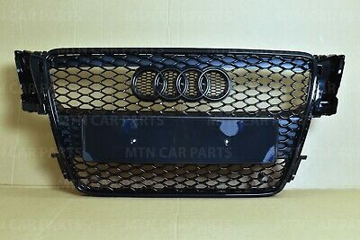 Rs5 Style Honeycomb Grill For Audi A5 S5 B8 2007-2011 Front Bumper Gloss Black