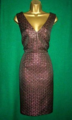 New THERAPY Uk 12 Bronze Metallic Jacquard HADLEY Pencil Shift Cocktail Dress