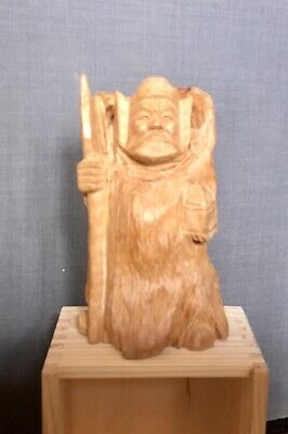 Chinese &JapanesGod of wealth and protection, Bishamontin 19thc Carving With Box