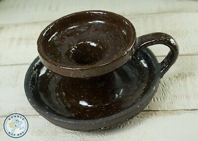 Wee Willie Winkie Chamberstick Candle Stick Holder Ceramic Glazed Brown Rustic