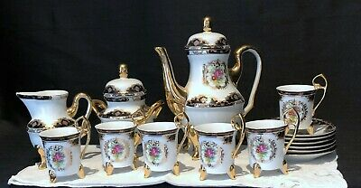 Czechoslovakian Demitasse Set Heavy Gold Trims 9 Pc Set With 6 Cups & Saucers