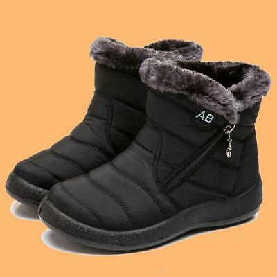 BLACK Womens Fur Lined Ankle Snow Boots Outdoor Winter Ski Shoe sz 9 USA SELLER