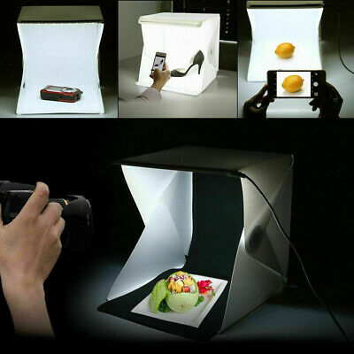 Double Mini LED Portable Photo Studio Photography Light Tent Backdrop Cube Box