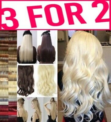 3FOR2 Hair Extension Half Head 1 Piece Curly Straight feels real Brown Red Plum