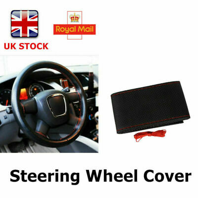 Universal PU Leather Car Truck Steering Wheel Protector Cover+Thread+Needles UK