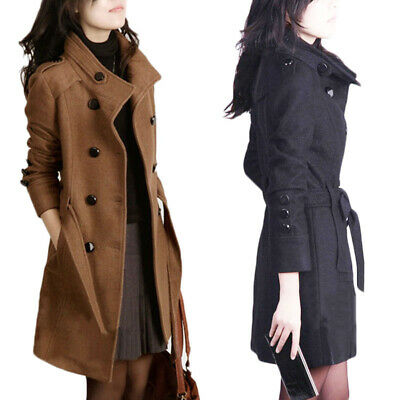 Womens Coat Jacket Winter Warm Lapel Long Slim Fit Trench Parka Middle Overcoat