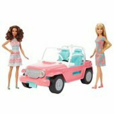 Barbie Jeep with 2 Dolls Girls Play Set Toy Playset Doll Giftset Pink Toys