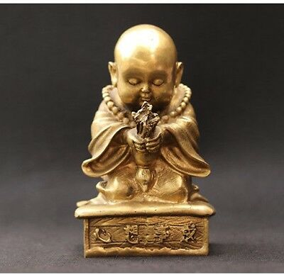 Collectible China Decorated Old Handwork Brass Carved Monk Pray Incense Statue
