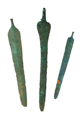 *Sc*Lot Of Three Near Eastern 'Luristani' Bronze Daggers, 1200-600 Bc!