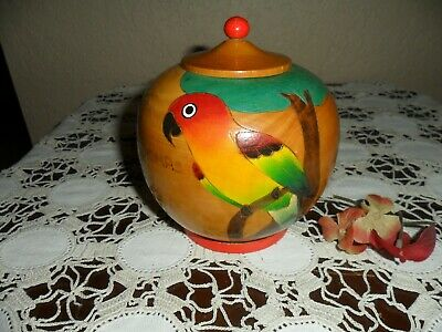 Vintage Wood ~ Hand Painted Tropical Birds Store, What Not Box ~ Parrot