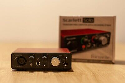 Focusrite Scarlett 2i2 Solo 2nd Gen USB Audio Interface Guitar Card Pro Tools
