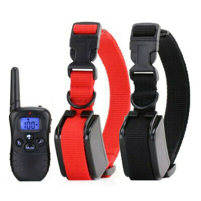 2 Dog Shock Electric Training Collar + Remote For Large Small Pet Training 4Mode