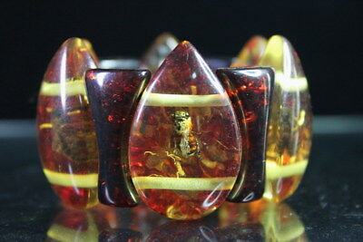 Collectable Precious Amber Inlay Lifelike Bees Strings Stretch Elegant Bracelet